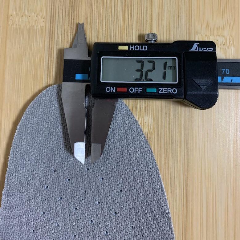 シェフメイトのインソールの1番薄い部分の厚みは321mm