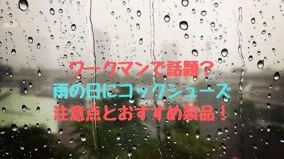 【話題?】雨の日通勤・通学に最適なコックシューズを紹介!!