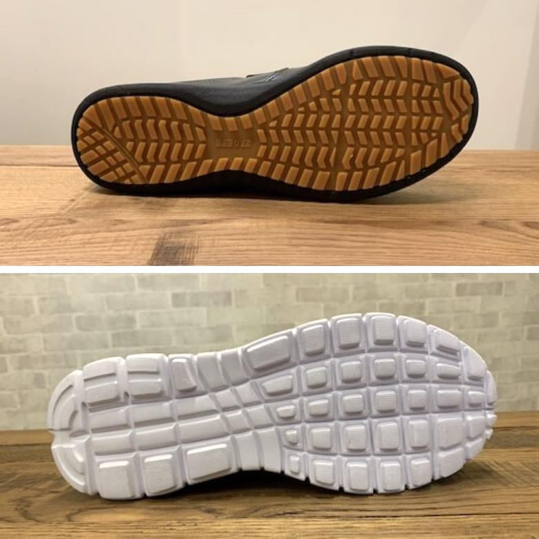 滑りにくい靴底と滑る靴底の比較