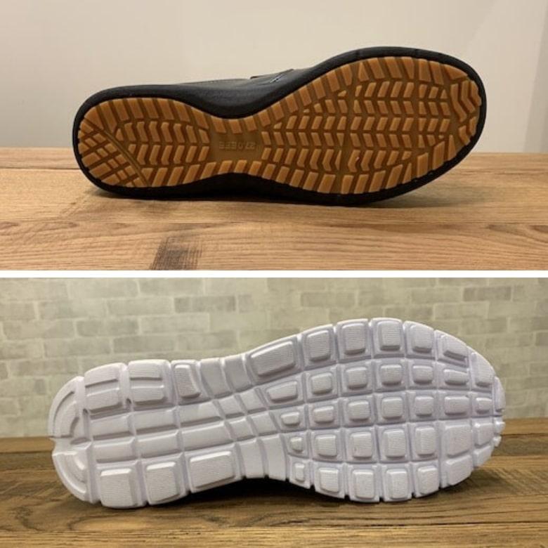 靴底にゴムを使用している靴底としていない靴底