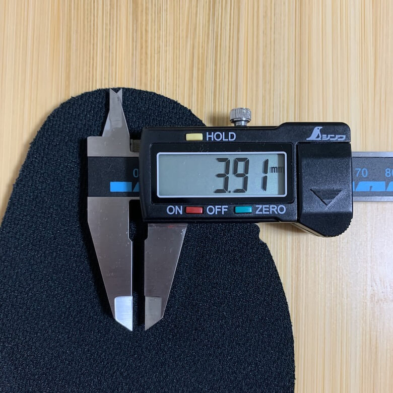 スポルディングの安全靴のインソールの1番薄い部分は3.91mm