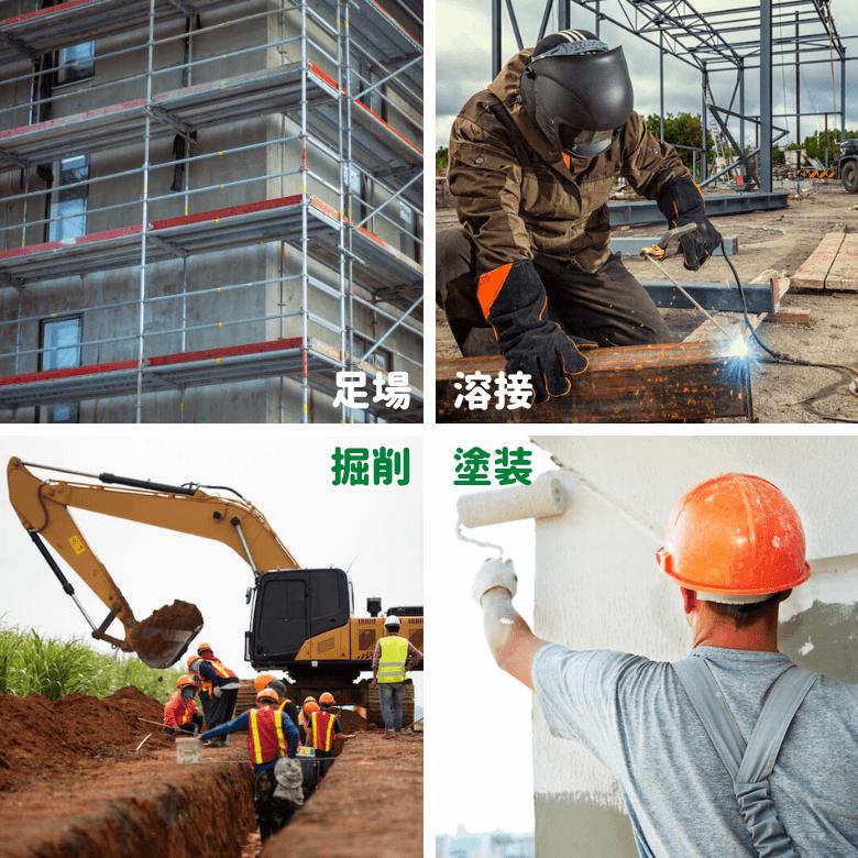 塗装・溶接・掘削・足場など工事現場の作業環境