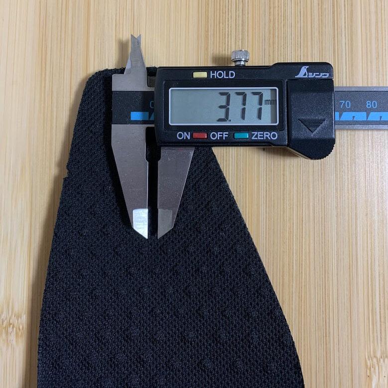 ムーンスターのバランスワークスSPH4610のインソールの厚みは3.77mm
