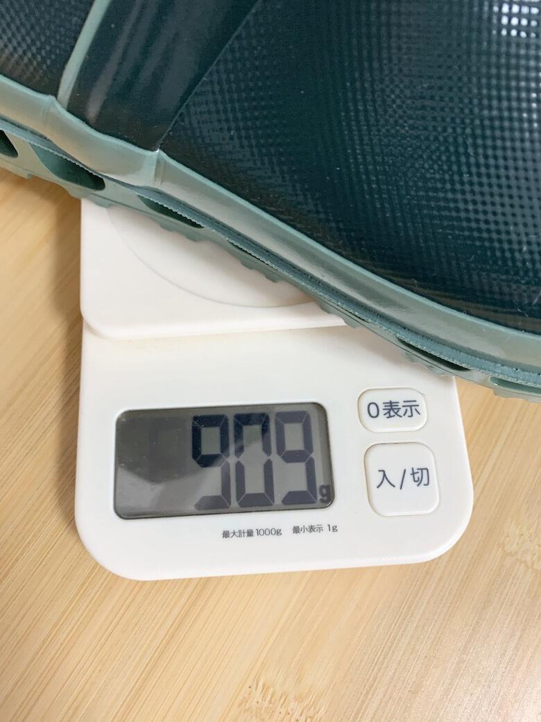 エアボスの重量は3Lで909g