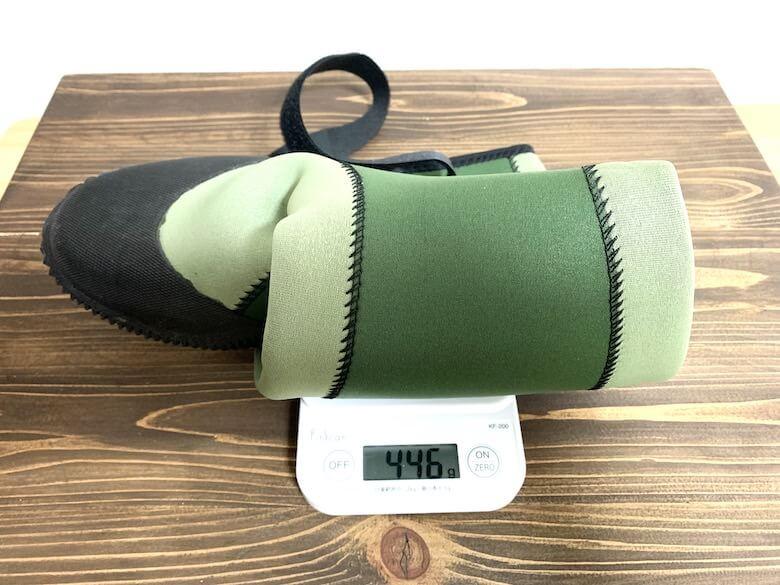 グリーンマスターの重量はLLサイズで446gでした。