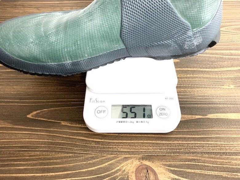 日本野鳥の会の長靴の重量はLLで551g